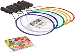 Sportime RacqaLoons Paddle Raquet Set, Assorted Colors, 144 Balloons (Set of 6)