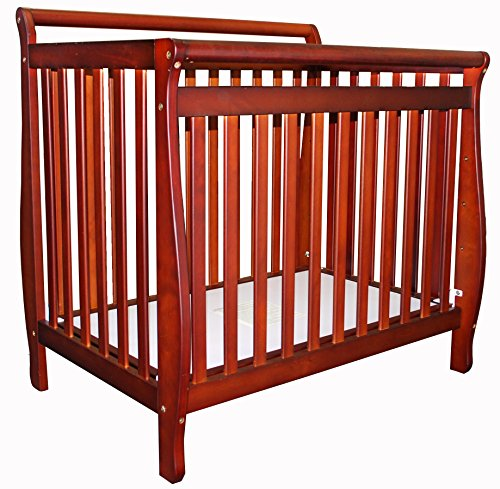 Athena Mini Amy 2-in-1 Fixed-Side Convertible Crib, Cherry