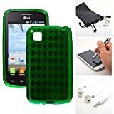 Green Candy Crystal Skin TPU Gel Soft Fitted Case Cover for LG L39C Optimus Dynamic 2 II + Accessory Kit by Emaxx