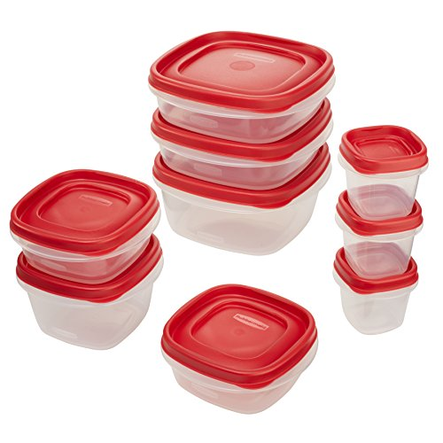 Rubbermaid Easy Find Lids Food Storage Container, 18-Piece Set, Red (1777170) (Microwave Set compare prices)
