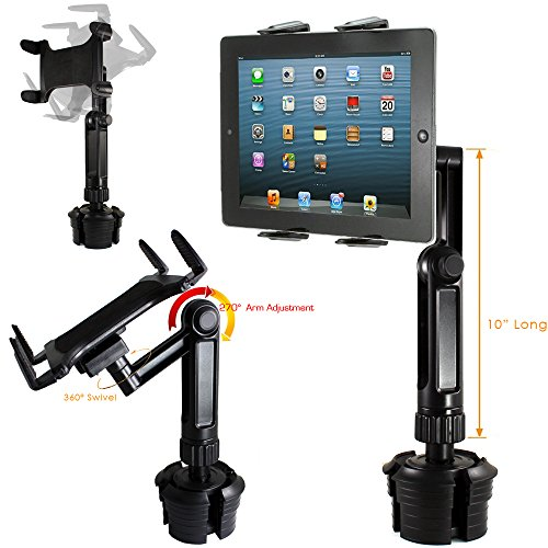 ChargerCity Vibration-Free Xtreme Tablet Drinks Cup Holder Mount w/10inch Long Arm & 360º Swivel Adjust for All 7 8 10 12