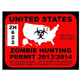 United States Zombie Hunting Permit (Bumper Sticker)