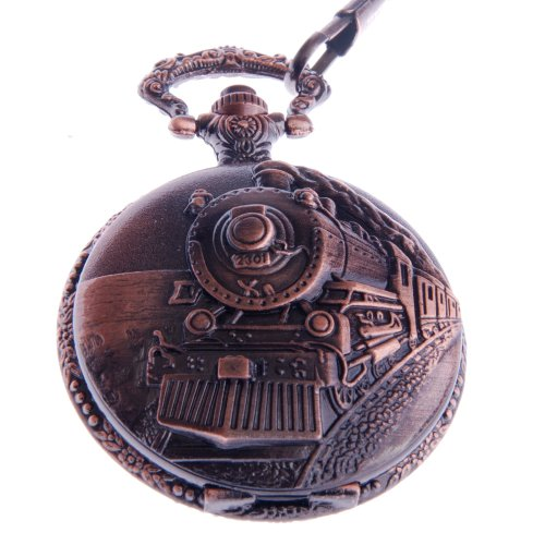 ShoppeWatch Pocket Watch Quartz Movement Railroad Engraved Case Arabic Numerals with Chain Full Hunter Vintage Design PW-31