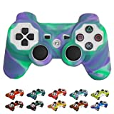 Skque® Silicone Soft Case Cover for Sony PlayStation 3 Controller, Light Purple & Green
