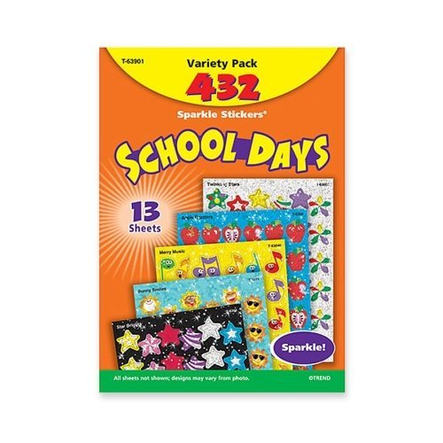 Trend Enterprises Inc School Days Variety Pack Sparkle Sticker 63901 - 1