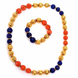 Antique Coral & Lapis Lazuli 18k Gold Bead Necklace & Bracelet Set
