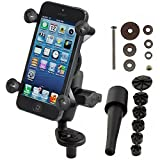 RAM MOUNTS (RAM-B-176-A-UN7 Fork Stem Mount with Short Double Socket Arm and Universal X-Grip Cell/Iphone Holder