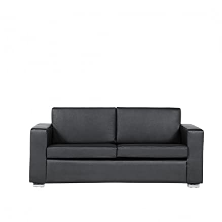 Divano nero - Sofa 3 posti - Divano in pelle - Divano moderno - HELSINKI