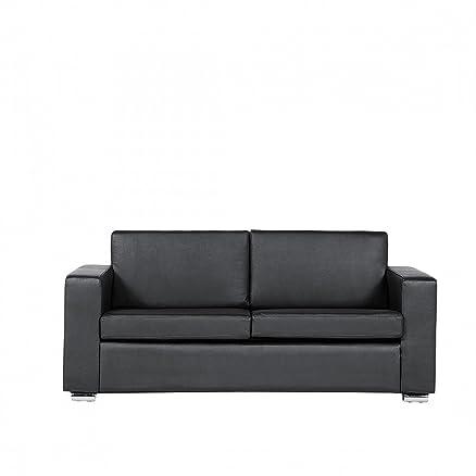 Divano nero - Sofa 3 posti - Divano in pelle - Divano moderno - HELSINKI