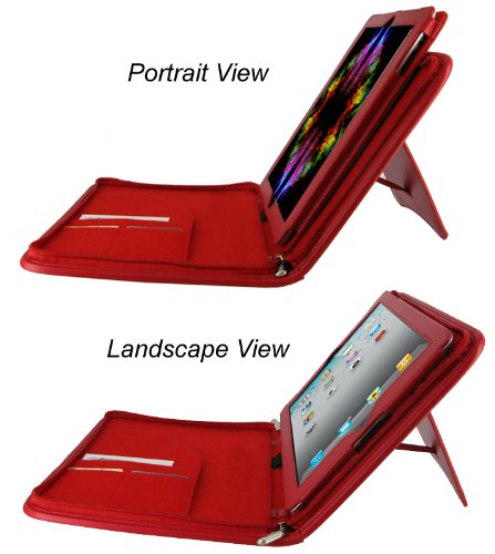 rooCASE Executive Portfolio Leather Case for  iPad 2 - Red