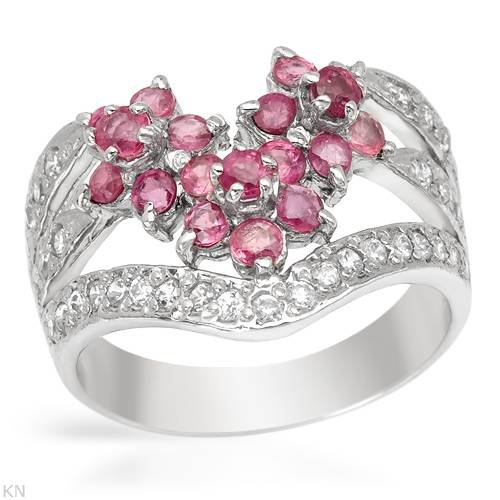 Ring With 1.55ctw Cubic zirconia and Rubies in 925 Sterling silver. Total item weight 5.0g (Size 8.5)