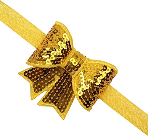 PinkXenia Yellow sparkly/glitter sequin bowknot elastic Newborn Soft Headband