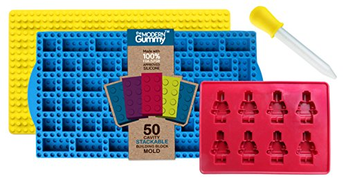 Stacking 50 Cavity Building Block Candy Mold + Base Plate Style LID + Figure Mold + Dropper + Recipe PDF by the Modern Gummy