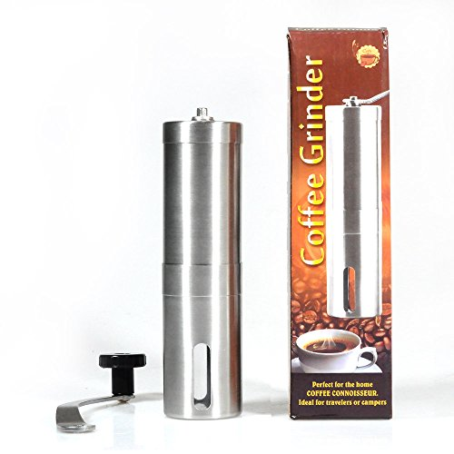 Lychee Manual Adjustable Ceramic Burr Coffee Grinder Portable Hand Crank Stainless Coffee Bean Grinder, Kitchen Condiment Grinder (Stainless Steel)