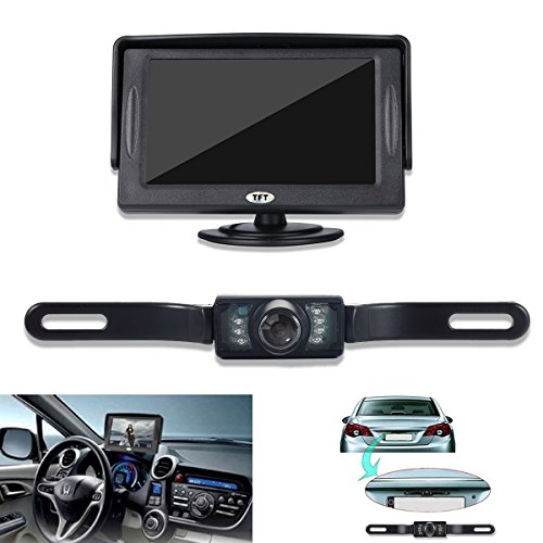 GerTong Backup Camera and Monitor Kit for Car, Universal Waterproof Rear View License Plate Car Backup Camera + 4.3 Inches LCD Monitor (Camera Car Reverse Hd compare prices)