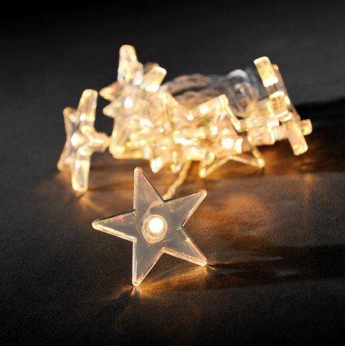 LED Lichterkette mit Sternen-Motiv für innen 10 Kerzen batteriebetrieben