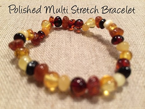 Baltic Amber Teething Bracelet For Babies And Toddlers Polished Multi Stretch Certified Authentic. Anti-Inflammatory, Reduction Of Drooling, Red Cheeks, Teething Pain. Highest Quality front-859730