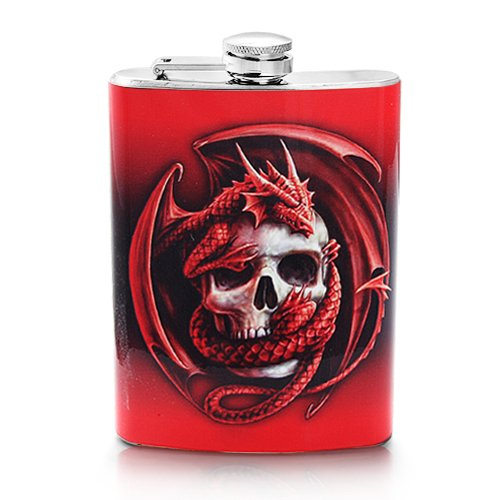 Screw-on Top Stainless Steel Wine Hip 8oz Flask -Skull with Dragon Design – Flask Measures ; Height:5.4 inches x Width: 3.4 inches x Thickness:0.75 inches.Personalized Design is available with a minimum of 20 pcs orders.
