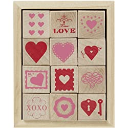 Martha Stewart Crafts Wood Stamp Set Valentines Day  Hearts