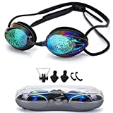 Swimming Goggles Anti Fog Shatterproof UV Protection,No Leaking with Silicone Nose Clip Ear Plugs and Protection Case Swimming Goggles Suit for Men Women Kids-Best Swim Goggles