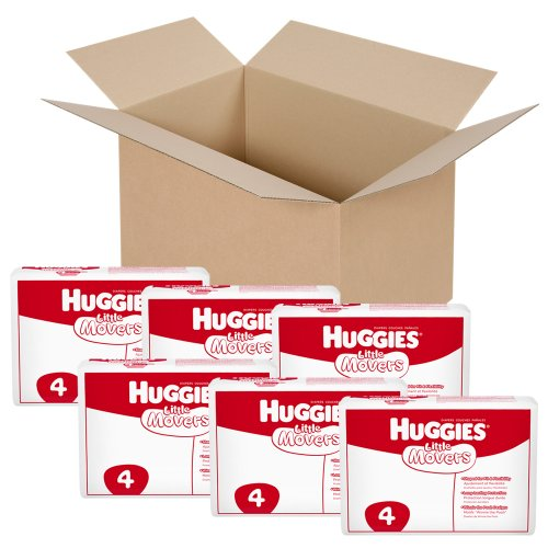 Huggies Little Movers Diapers, Ebulk, Size 4, 198 Count (packaging may vary) - 1