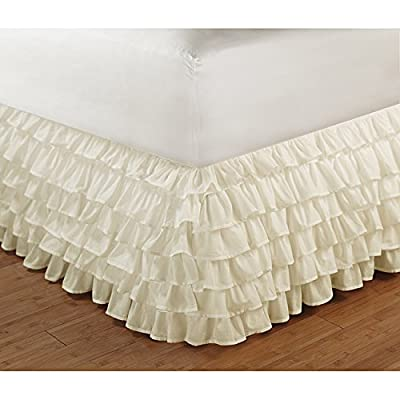 "Multi Layered Ruffle Platform Valance/Bedskirt King Size 16"" (40cm) Drop Ivory Colour 1000TC Egyptian Cotton Bedding"