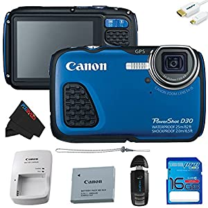 Canon PowerShot D30 Waterproof Digital Camera (Blue) + 16GB Pixi-Basic Accessory Kit