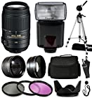Nikon AF-S DX NIKKOR 55-300mm f/4.5-5.6G ED VR Lens 2197 with Deluxe Accessories Package includes 2.2x Telephoto Adapter + 0.43x Wide Angle Fisheye Adapter + Flash + Tripod + Large Padded Case + 3 Piece Filter Kit + Tulip Lens Hood + Cleaning Kit + $50 Gift Card for Prints for Nikon DF D7200 D7100 D7000 D5500 D5300 D5200 D5100 D5000 D3300 D3200 D3100 D3000 D300S D90 D60 DSLR SLR Digital Camera