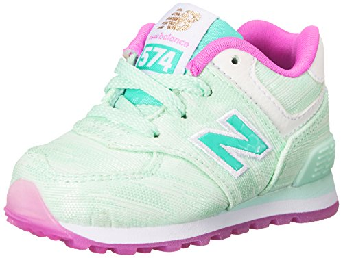 New Balance KL574 Summer Waves I Running Shoe (Infant/Toddler), Teal/Teal, 6 M US Toddler (New Balance Baby Shoes compare prices)