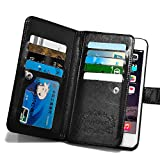 For iPhone 6 6s Case, Roybens 9 Card Slot PU Leather Wallet Case 2 in 1 Magnetic Detachable Back Cover Flip Case with Wrist Strap For Apple iPhone 6 6s (4.7) Black