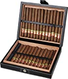 "Visol Products VHUD515 ""Corlo"" Cigar Humidor, Holds 25 Cigars, Black Leather"