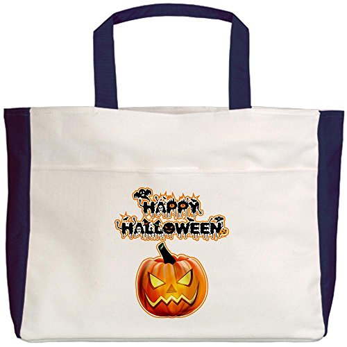 Royal Lion Beach Tote (2-Sided) Happy Halloween Pumpkin