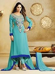 Aayushman Womens Faux Georgette Anarkali Semi-Stitched Dress Material (Jnx33311 _Turquoise)