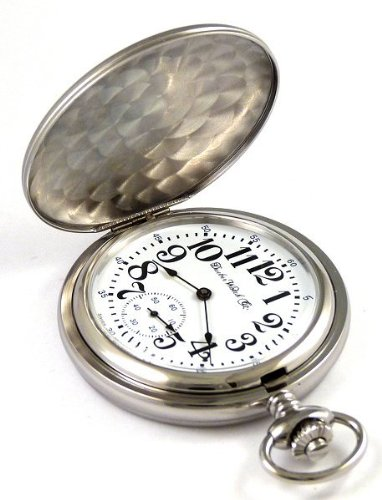 Женские карманные часы Dueber Swiss Mechanical Pocket Watch, High Polish Chrome Hunting Case, Assembled in USA!