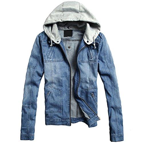 Bluetime Fashion Men`s Vintage Zipper Fly Denim Jeans Blue Hoodie Bomber Jacket Outwear