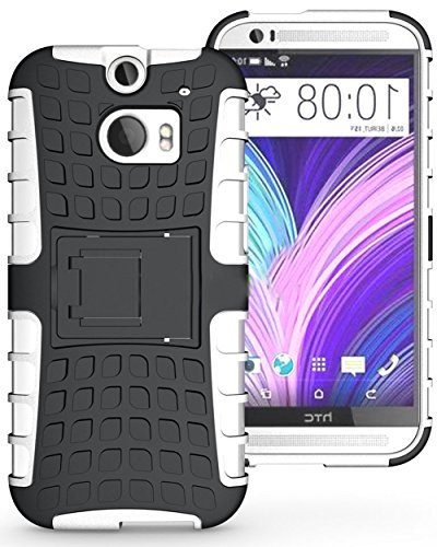 Mylife Cool Black + Chocolate White {Rugged Design} Two Piece Neo Hybrid (Shockproof Kickstand) Case For The All-New Htc One M8 Android Smartphone - Aka, 2Nd Gen Htc One (External Hard Fit Armor With Built In Kick Stand + Internal Soft Silicone Rubberized