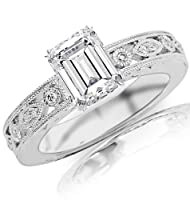 1.2 Carat GIA Certified Emerald Cut / Shape Antique / Vintage Bezel Set Diamond Engagement Ring With Milgrain ( K Color , I1 Clarity ) from Chandni Jewels