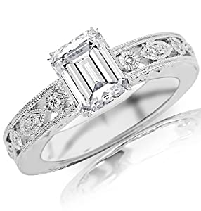 0.88 Carat Emerald Cut / Shape 14K White Gold Antique / Vintage Bezel Set Designer Diamond Engagement Ring ( F-G Color , SI1 Clarity )
