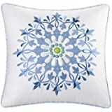Echo Sardinia 18-Inch by 18-Inch Polyester Fill Pillow, Ease, White