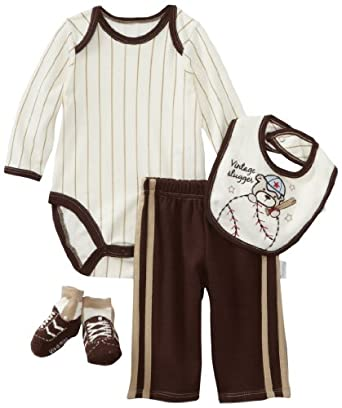 Vitamins Baby Baby-Boys Newborn 4 Piece Creeper Vintage Slugger Pant Set, Brown, 9 Months