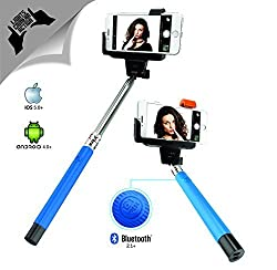 XTRA Selfie Stick Professional with Built-in Bluetooth Remote Button on the Handle for Smart Clicks Apple & Android Devices