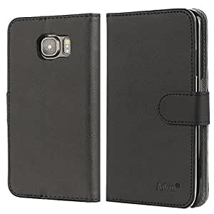 Galaxy S6 Case,by Ailun,Premium PU Leather&Soft TPU,Impact Resistant&Scratch-proof Wallet,Self-Stand for Video Watching,Card Holder,Magnetic Flip Cover[Black]