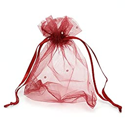 PEPPERLONELY Brand 100PC Organza Drawable Wedding Gift Bags & Pouches Rectangle Wine Red 12cm x 10cm (4-6/8 x3-7/8 )