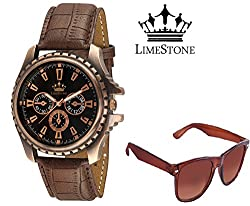 LimeStone Round Casual Octane Originals Analog Dark Brown Synthetic Leather Strap Black Dial Men's / Boy's Watch with Aviator Sunglass Combo