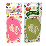 JELLY BELLY TWIN PACK 2D BEAN SWEETS SCENT CAR AIR FRESHENER - BUBBLE GUM + JUICY PEAR