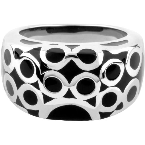 Size 7 - Inox Jewelry 316L Stainless Steel Black Resin Circle Ring