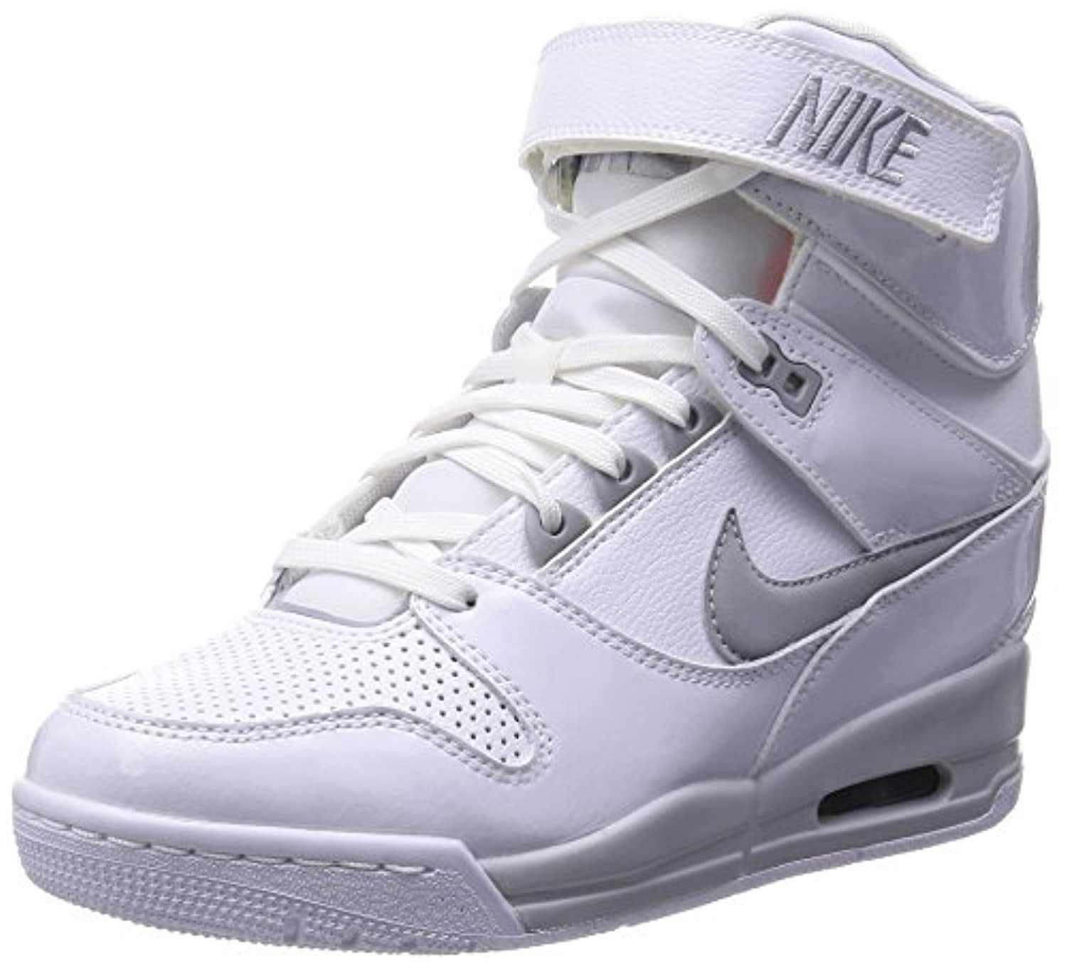 Nike Air Revolution Sky Hi Women's Shoes Wedge White/Hyper Punch/Metallic Silver/Wolf Grey 599410-102 (SIZE: 7.5)