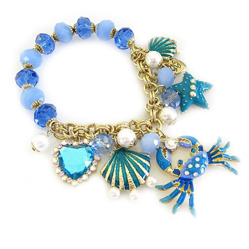 Betsey Johnson Jewels of the Sea Crab Multi Charm Half Stretch Bracelet