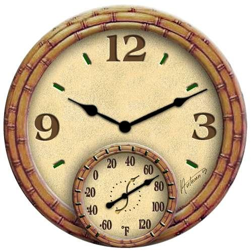 Springfield Precision Instruments 14-Inch Poly Resin Bamboo Clock with Thermometer