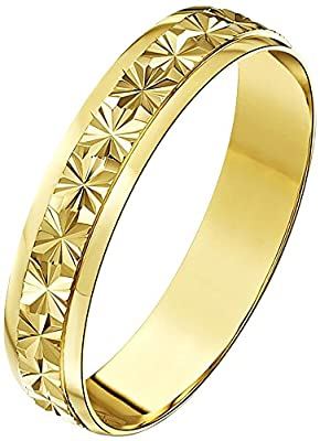 Theia 9ct Gold Heavy Weight Star Centre Design DShape Wedding Ring for Men or Women